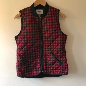 Old Navy Buffalo Check Quilted Vest - S